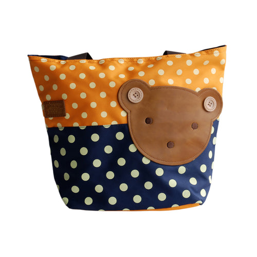 [Bear-Orange] Blancho Applique Kids Fabric Art Tote Bag/Shopper Bag-Middile size (13.3*5.1*10.6)