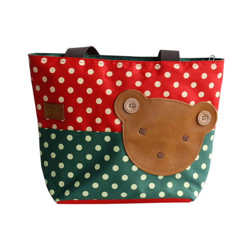 [Bear-Crimson] Blancho Applique Kids Fabric Art Tote Bag/Shopper Bag-Middile size (13.3*5.1*10.6)