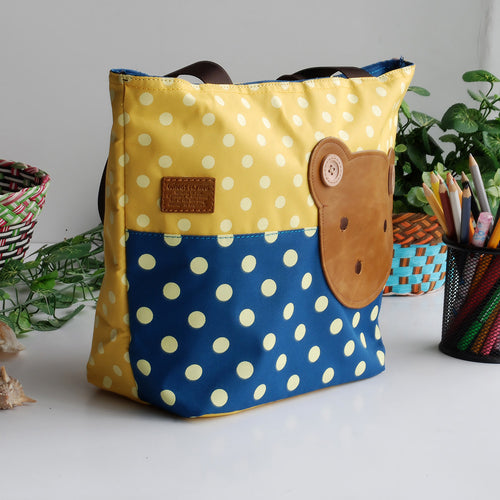 [Bear-Yellow] Blancho Applique Kids Fabric Art Tote Bag/Shopper Bag-Middile size (13.3*5.1*10.6)