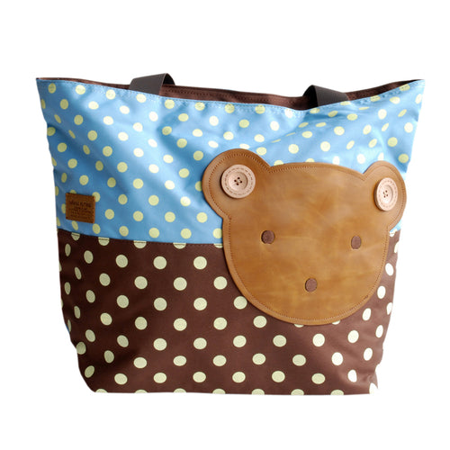[Bear-Skyblue] Blancho Applique Kids Fabric Art Tote Bag/Shopper Bag-Big Size (16.5*5.5*12.6)
