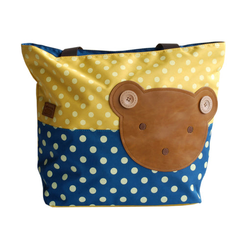 [Bear-Yellow] Blancho Applique Kids Fabric Art Tote Bag/Shopper Bag-Big Size (16.5*5.5*12.6)