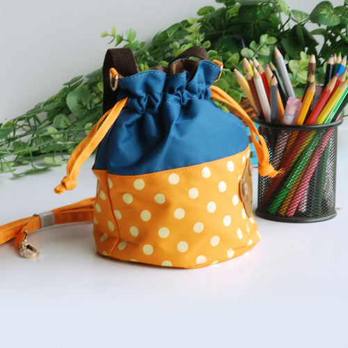 [Bear-Orange] Blancho Applique Kids Fabric Art Bucket Bag/Bento Lunch Box/Shopper Bag (5.7*6.3*7.8)