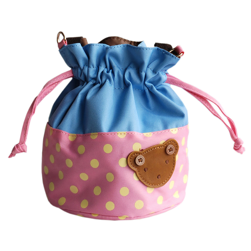 [Bear-Pink] Blancho Applique Kids Fabric Art Bucket Bag/Bento Lunch Box/Shopper Bag (5.7*6.3*7.8)