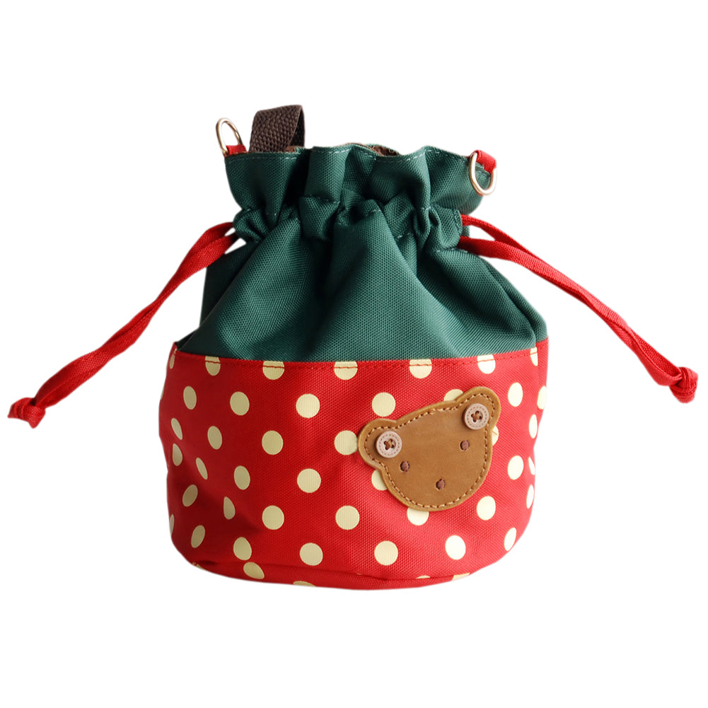 [Bear-Crimson] Blancho Applique Kids Fabric Art Bucket Bag/Bento Lunch Box/Shopper Bag (5.7*6.3*7.8)