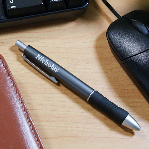 Engraved Name Metallic Gray Ballpoint Pen - Home Goods Galore