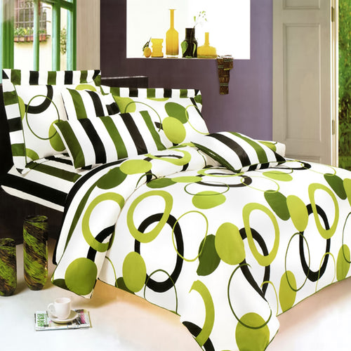 Blancho Bedding - Artistic Green 100% Cotton 5PC MEGA Duvet Cover Set Twin Size - Home Goods Galore