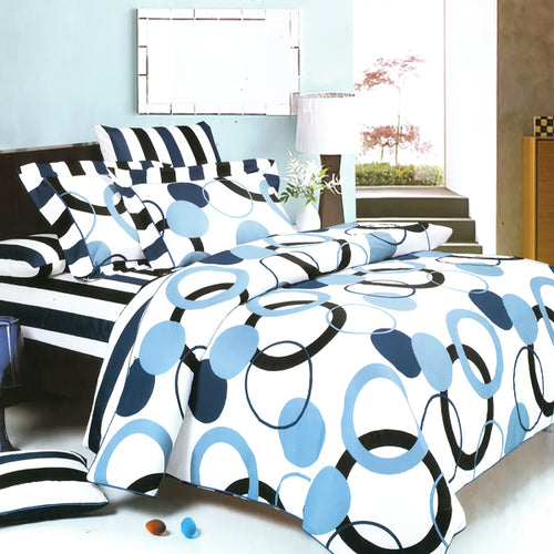 Artistic Blue Luxury 6PC MEGA Comforter Set Combo 300GSM Twin Size - Home Goods Galore