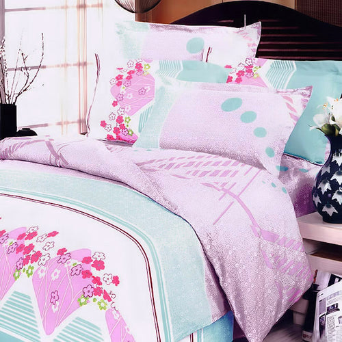 Cherry Blossom 100% Cotton 5PC Comforter Set King Size - Home Goods Galore