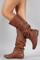 Qupid Neo-144 New Women Leatherette Slouchy Knee High Riding Boot - Home Goods Galore