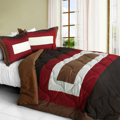 [Happy Song] Quilted Patchwork Down Alternative Comforter Set (Twin Size)