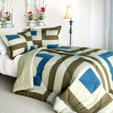 [Laura Dreamland] Quilted Patchwork Down Alternative Comforter Set (Twin Size)