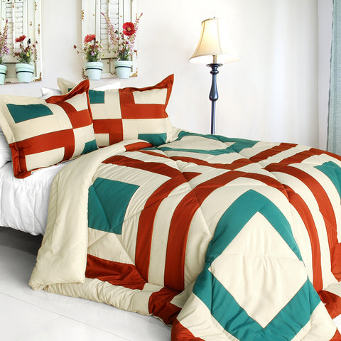 [Amaya] Quilted Patchwork Down Alternative Comforter Set (Full/Queen Size)