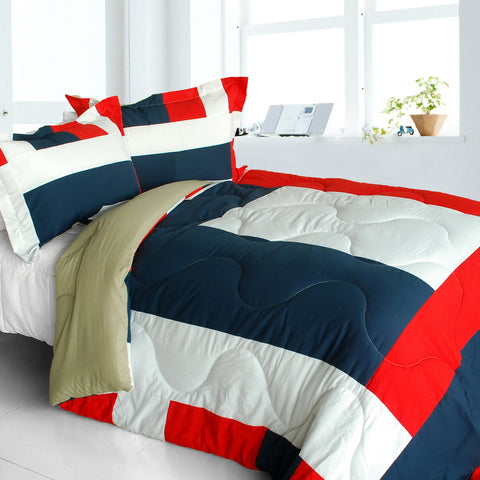 [Great Hometown] Quilted Patchwork Down Alternative Comforter Set (Full/Queen Size)