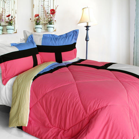 [Luxury Home] Quilted Patchwork Down Alternative Comforter Set (Twin Size)