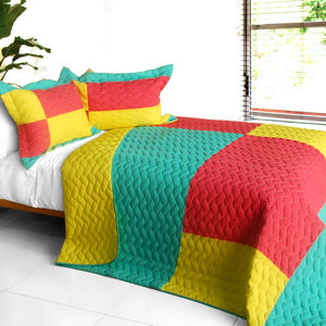 [Waiting for Amore] 3PC Vermicelli-Quilted Patchwork Quilt Set (Full/Queen Size)