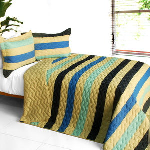 [Armani Style] 3PC Vermicelli-Quilted Patchwork Quilt Set (Full/Queen Size)