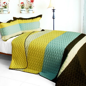 [Mira Beauty] 3PC Vermicelli-Quilted Patchwork Quilt Set (Full/Queen Size)