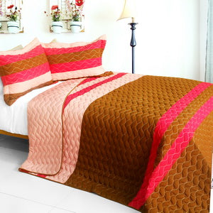 [Quiet Time] 3PC Vermicelli-Quilted Patchwork Quilt Set (Full/Queen Size)