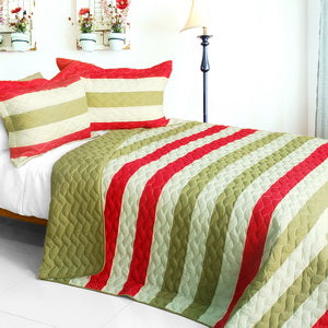 [Fashions Connie] 3PC Vermicelli-Quilted Patchwork Quilt Set (Full/Queen Size)