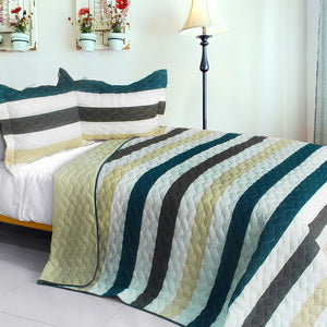 [Stella Wish] 3PC Vermicelli-Quilted Patchwork Quilt Set (Full/Queen Size)