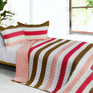 [Touch of Love] 3PC Vermicelli-Quilted Patchwork Quilt Set (Full/Queen Size)