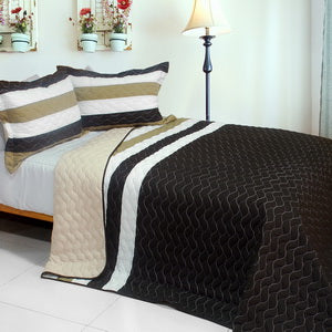 [Silent Night] 3PC Vermicelli-Quilted Patchwork Quilt Set (Full/Queen Size)