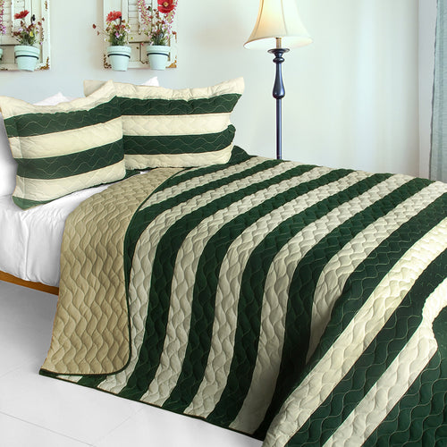 [Wander In The Secret Garden] 3PC Vermicelli-Quilted Patchwork Quilt Set (Full/Queen Size)