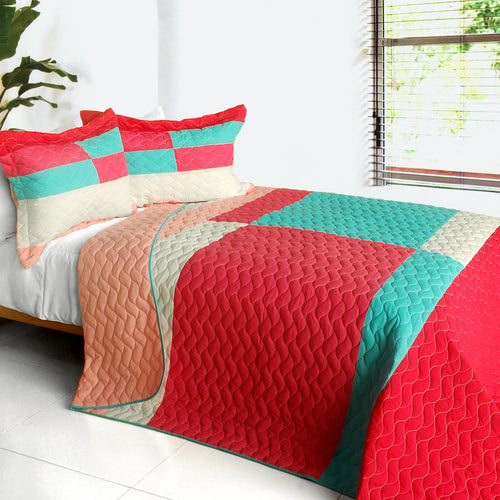 [My Lost Love] 3PC Vermicelli-Quilted Patchwork Quilt Set (Full/Queen Size)