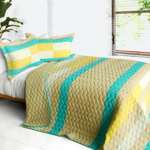 [Something Like Wonderful] 3PC Vermicelli-Quilted Patchwork Quilt Set (Full/Queen Size)