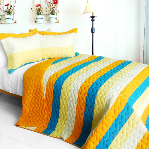 [Beautiful As It Is] 3PC Vermicelli-Quilted Patchwork Quilt Set (Full/Queen Size)
