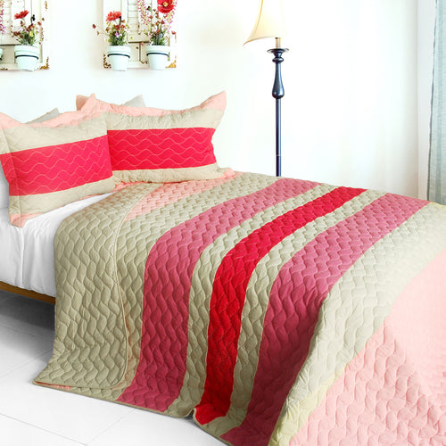 [The Only Truth] 3PC Vermicelli-Quilted Patchwork Quilt Set (Full/Queen Size)