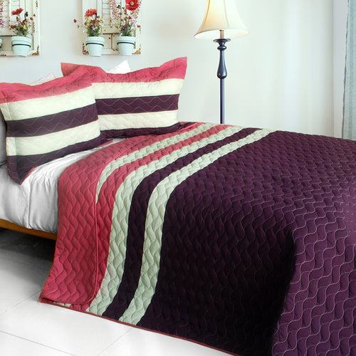[Goodbye Floppy ] 3PC Vermicelli-Quilted Patchwork Quilt Set (Full/Queen Size)