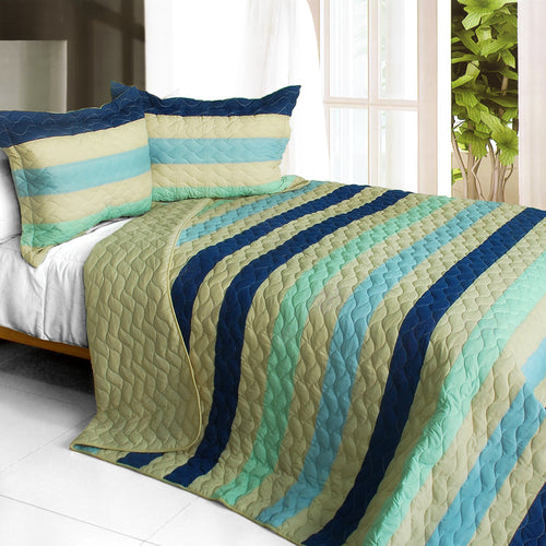 [Rising to the Top ] 3PC Vermicelli-Quilted Patchwork Quilt Set (Full/Queen Size)