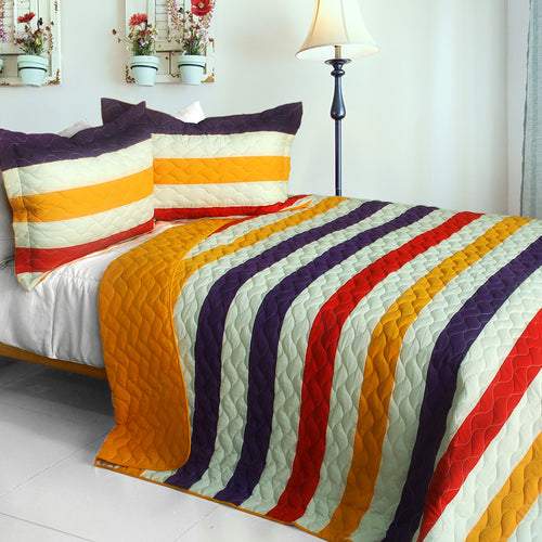 [Spoken Word ] 3PC Vermicelli-Quilted Patchwork Quilt Set (Full/Queen Size)