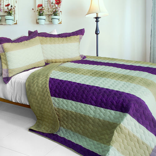 [Waves Of Rays ] 3PC Vermicelli-Quilted Patchwork Quilt Set (Full/Queen Size)