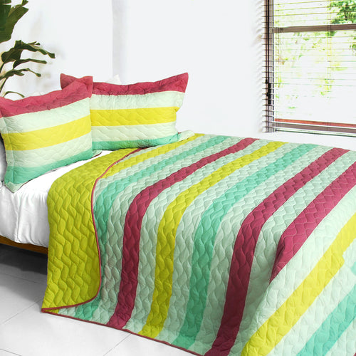 [Starlight Tears] 3PC Vermicelli-Quilted Patchwork Quilt Set (Full/Queen Size)