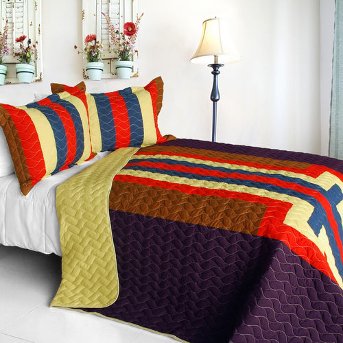 [Bubbly Night] 3PC Vermicelli-Quilted Patchwork Quilt Set (Full/Queen Size)