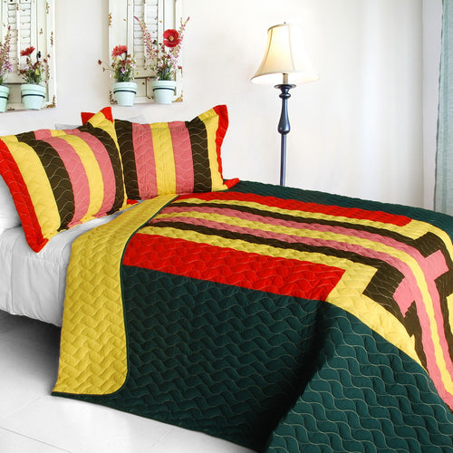 [Yesterday Spring] 3PC Vermicelli-Quilted Patchwork Quilt Set (Full/Queen Size)