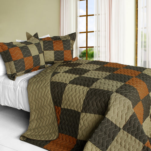 [Believe Love] 3PC Vermicelli-Quilted Patchwork Quilt Set (Full/Queen Size)