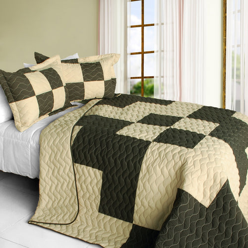 [Oh My Love] 3PC Vermicelli-Quilted Patchwork Quilt Set (Full/Queen Size)