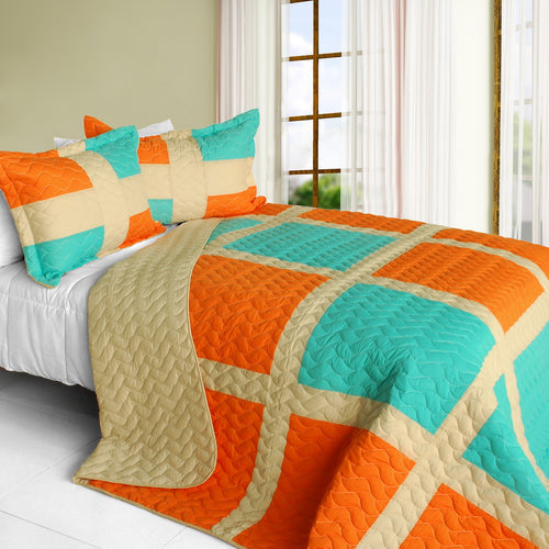 [Enjoy Sunshine] 3PC Vermicelli-Quilted Patchwork Quilt Set (Full/Queen Size)