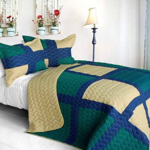 [Traveling Light] 3PC Vermicelli-Quilted Patchwork Quilt Set (Full/Queen Size)