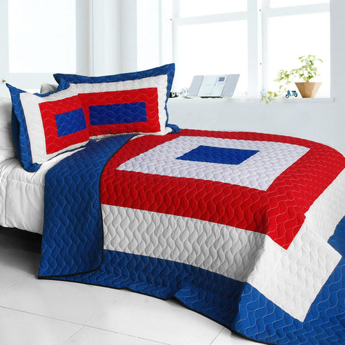 [Sun's Passion] Vermicelli-Quilted Patchwork Geometric Quilt Set Full/Queen
