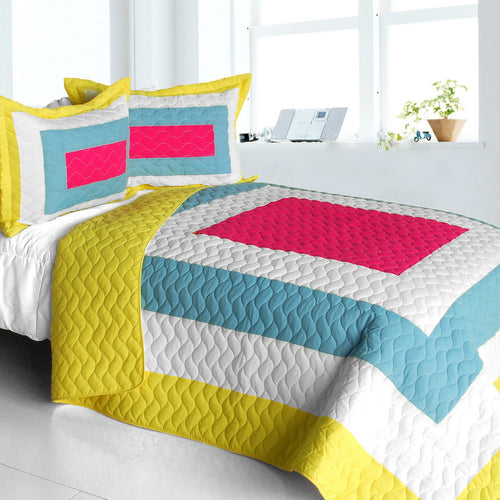 [Moon's Passion] Vermicelli-Quilted Patchwork Geometric Quilt Set Full/Queen