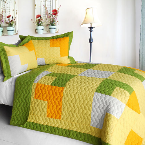 [Zing] Vermicelli-Quilted Patchwork Geometric Quilt Set Full/Queen