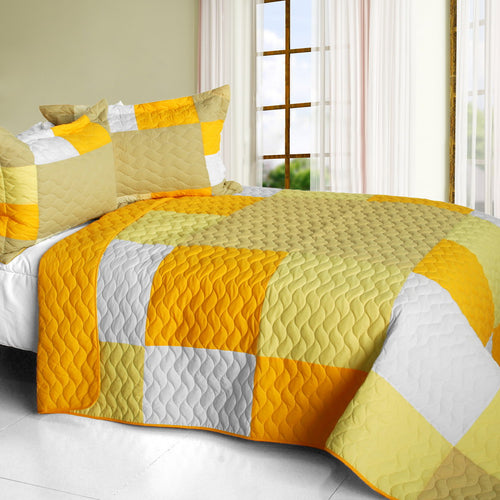 [Gorgeous Sunshine] Vermicelli-Quilted Patchwork Plaid Quilt Set Full/Queen