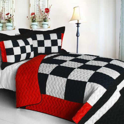 [If Possible] Vermicelli-Quilted Patchwork Plaid Quilt Set Full/Queen