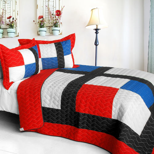 [Be Myself] Vermicelli-Quilted Patchwork Geometric Quilt Set Full/Queen