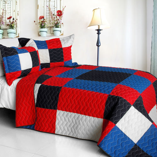 [Eternal Passion] Vermicelli-Quilted Patchwork Geometric Quilt Set Full/Queen