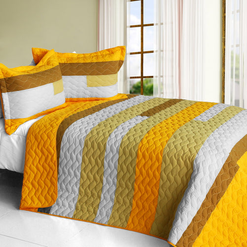 [Smashing] Vermicelli-Quilted Patchwork Striped Quilt Set Full/Queen